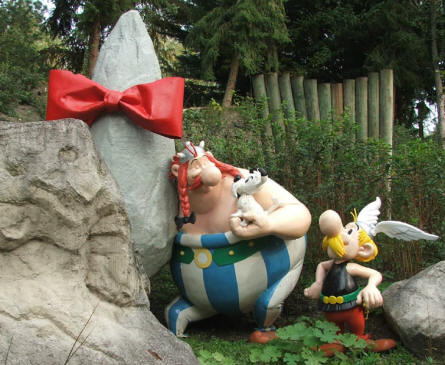 Asterix and his friend Obelix at the Parc Asterix near Paris.