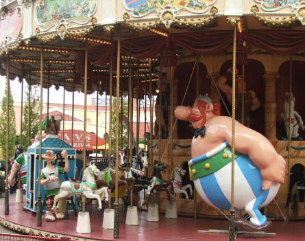 A carousel at Parc Asterix near Paris. Here you can take a ride together with the figures from Asterix.