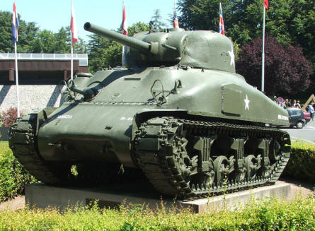 An American Sherman tank outside the Bayeux D-day museum.