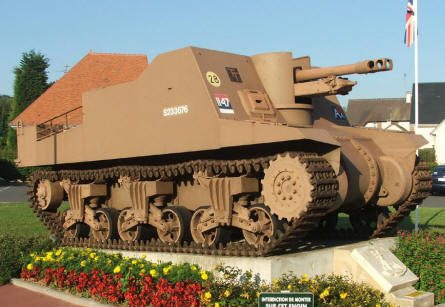 A Sexton self-propelled gun used as a memorial. This is just one among many armoured vehicles that are used as memorials along the D-day coast.