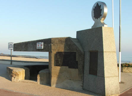 A Canadian D-day memorial made out of an old German bunker - right at the D-day beach.