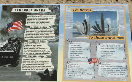 At most of the memorial sites at the D-day coast you will find signs telling the story of the memorial - or telling the story of the fighting that took place at this specific spot on D-day.