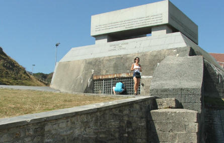 A US National Guard memorial - built on the top of a German World War II costal bunker.