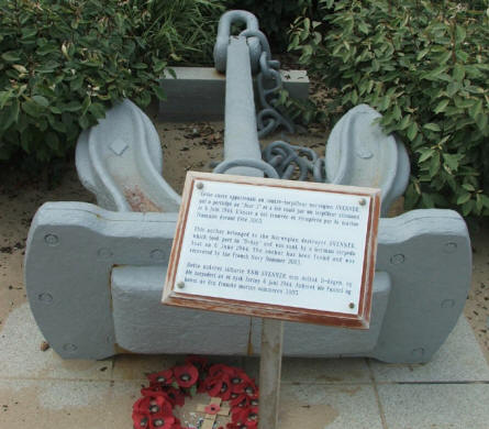 "The anchor from the Norwegian destroyer ""Svenner"" that was sunk during the D-day landing is now a memorial for the Norwegian sailors that took part in the D-day landing."
