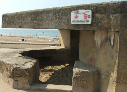 A typical D-day memorial made out of an old German bunker - right at the D-day beach.