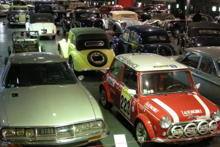 A view over a part of the main hall at the La Sarthe 24 hour Automobile Museum at Le Mans.