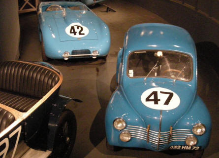Some older French race cars at the La Sarthe 24 hour Automobile Museum at Le Mans.