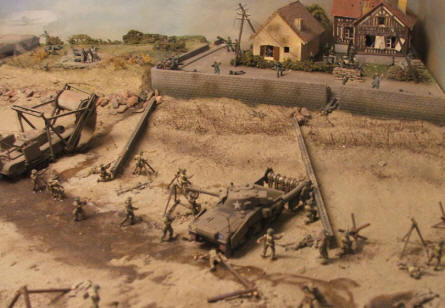 "One of the many dioramas that show details from the battles on D-day in the ""Gold Beach"" area. America ""Gold Beach"" museum."