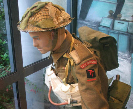 "A British World War II uniform from the battles on D-day on display at the America ""Gold Beach"" museum."