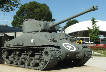 An American Sherman tank outside the Airborne museum in Sainte Mère Eglise.
