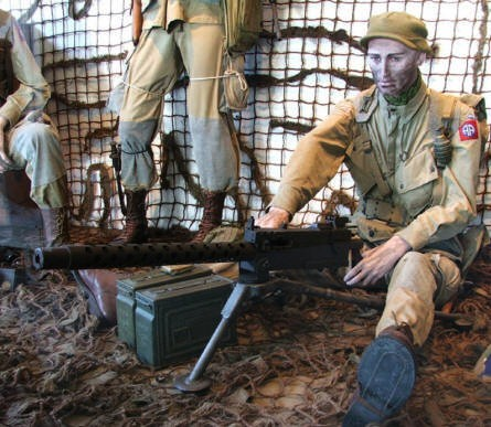 American World War II paratroopers and machinegun at the Airborne museum in Sainte Mère Eglise.