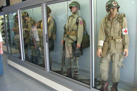 American paratrooper uniforms at the Airborne museum in Sainte Mère Eglise.
