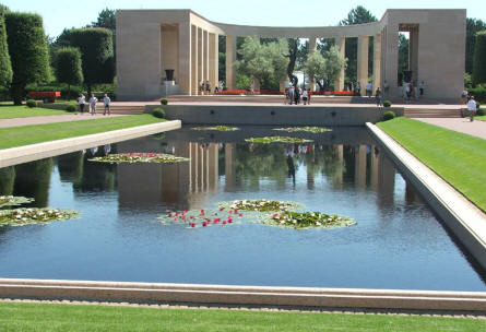 The American World War II memorial at the Normandy American Cemetery at Colleville-sur-Mer.