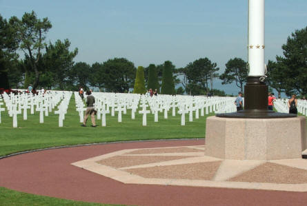 Some of the 9,387 white marble crossed at the Normandy American Cemetery at Colleville-sur-Mer.