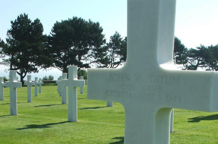The grave of John W. Tatum - killed on the 6th of June 1944 (D-day) - at the Normandy American Cemetery at Colleville-sur-Mer.