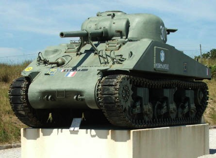 A Sherman tank at the French memorial at the D-day landing site at Utah Beach.
