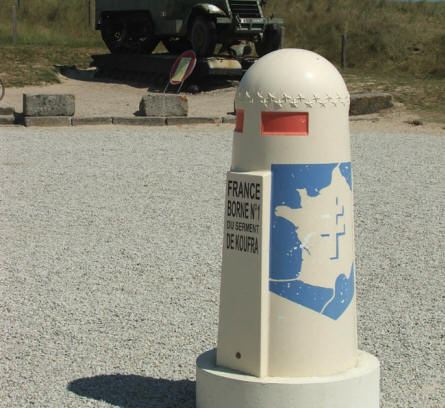 "A French ""Zero marker"" at the French memorial at the D-day landing site at Utah Beach."