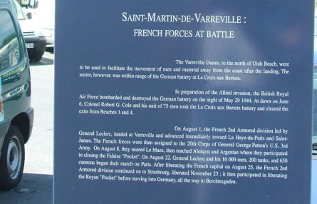 An information sign at the French memorial at the D-day landing site at Utah Beach.