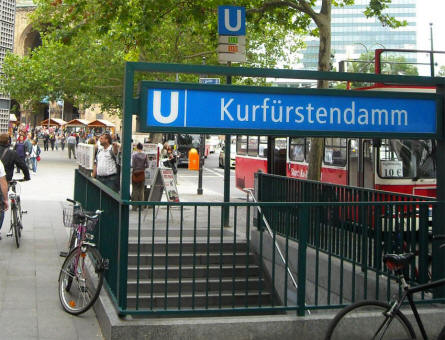 An entrance to the subway (U-bahn) at the shopping street Kurfürstendamm in Berlin.