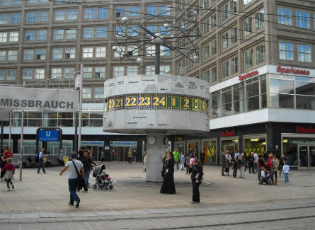 he shopping area around Alexanderplatz in the eastern part of Berlin.