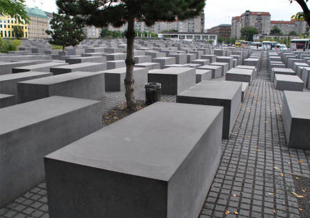 Some of the smaller concrete blocks at the Jewish Memorial in Berlin.