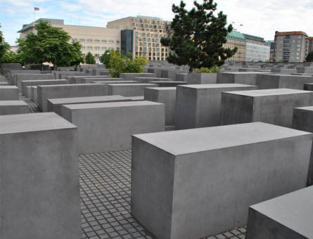 Some of the medium size concrete blocks at the Jewish Memorial in Berlin.