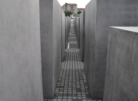 Some of the large concrete blocks at the Jewish Memorial in Berlin - forming a very deep corridor.