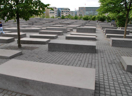 Some of the smallest concrete blocks at the Jewish Memorial in Berlin.