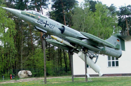 Lockheed F-104 Starfighter with rocket launch displayed at the Luftwaffe museum at Gatow.