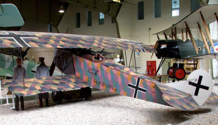 German and British aircrafts from World War I displayed at the Luftwaffe museum at Gatow.