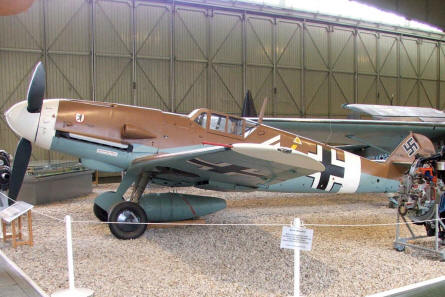 German Messerschmidt Me-109 fighter from World War II displayed at the Luftwaffe museum at Gatow. Approx. 35,000 of these fighters were used during the war.