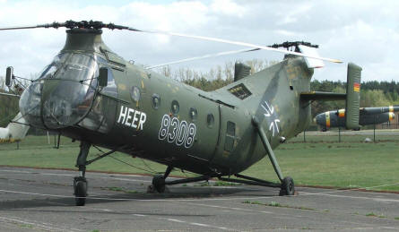 "A A Piasecki H21C helicopter - also called ""Flying Banana"" from the 1950's displayed at the Luftwaffe museum at Gatow. H21C helicopter - also called ""Flying Banana"" from the 1950's."