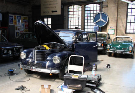 A vintage car being repaired at the Classic Remise Berlin in April 2011.