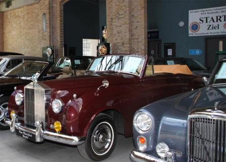 Some of the vintage cars on display at the Classic Remise Berlin in April 2011.