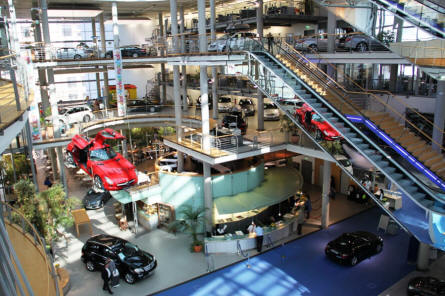 A view inside the Mercedes Welt (World) in Berlin.