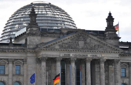 The huge glass dome on top of the Reichstag building.