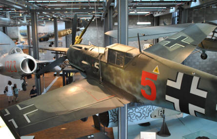 Some of the many historic aircrafts displayed at the German Museum of Technology in Berlin. In front a German World War II Messerschmitt Bf-109.