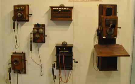 Vintage telephones displayed at the German Museum of Technology in Berlin.