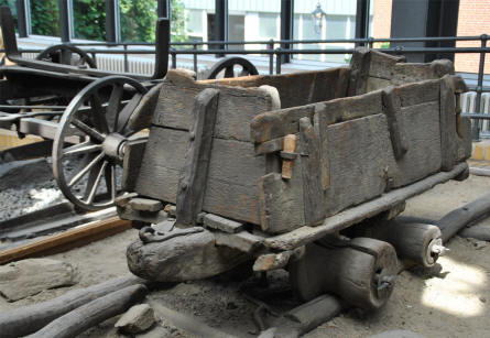 "A very early example of a ""railway"" displayed at the German Museum of Technology in Berlin."