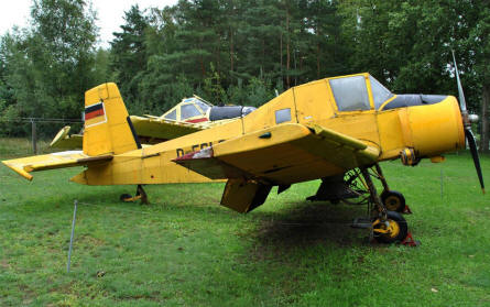 A Zlin Z-37 Čmelák displayed at the Airfield Museum Cottbus.
