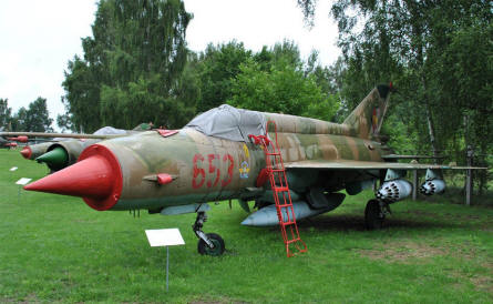 "A ""Cold War"" Mikoyan-Gurevich MIG-21 Fishbed displayed at the Airfield Museum Cottbus."