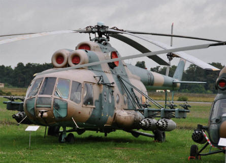 "A ""Cold War"" Mil Mi-8 Hip attack helicopter displayed at the Airfield Museum Cottbus."