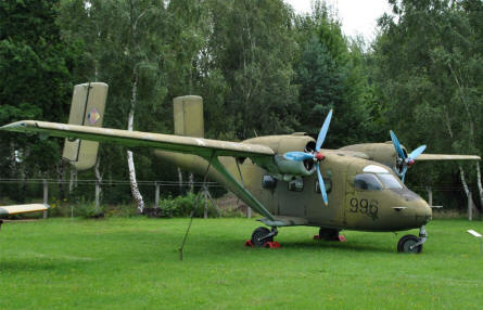 An Antonov An-14 Pchelka light transport aircraft displayed at the Airfield Museum Cottbus.
