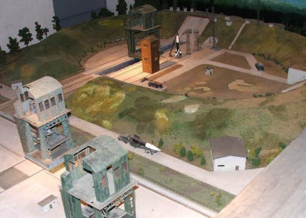 A diorama displayed at Peenemünde Historical & Technical Museum showing the rocket test site at Peenemünde.
