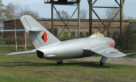 A MIG-17 Fresco from the East German Air Force displayed at the Peenemünde Historical & Technical Museum.