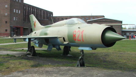 A MIG-21 Fishbed from the East German Air Force at the Peenemünde Historical & Technical Museum.