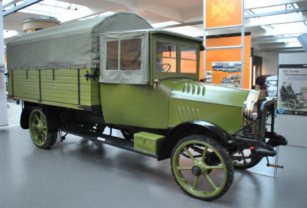"A 1916 Horch 25/42 PS truck displayed at the Automobile Museum ""August Horch"" in Zwickau."