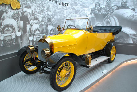 "A 1911 Audi 10/28 Type B Phaeton displayed at the Automobile Museum ""August Horch"" in Zwickau."