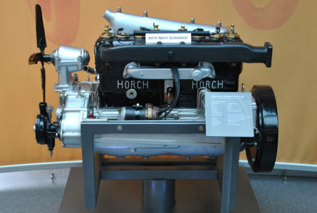 "A 1919 Horch 4-cylinder aircraft engine displayed at the Automobile Museum ""August Horch"" in Zwickau."