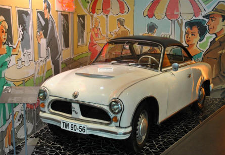 "A 1958 IFA P 70 coupé displayed at the Automobile Museum ""August Horch"" in Zwickau."
